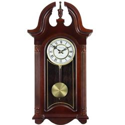 Colonial Mahogany Cherry Oak Finish Chiming Wall Clock with Roman Numerals