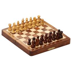 Benzara Magnetic Handmade Chess Set Foldable Game In Wood, Brown And Beige