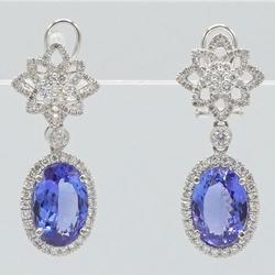 Platinum Tanzanite & Diamond Dangle Earrings