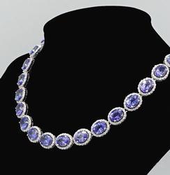 14KT White Gold Tanzanite & Diamond Necklace, 70+ ctw!