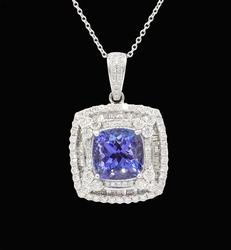 Tanzanite & Diamond Pendant in Platinum