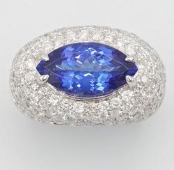 14KT White Gold Tanzanite & Diamond Cocktail Ring