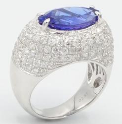 7.0 CTW Tanzanite & Diamond 14kt Gold Cocktail Ring
