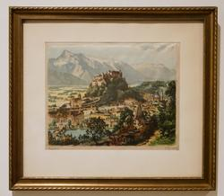 Beautiful Color Lithograph on Silk Signed Artwork