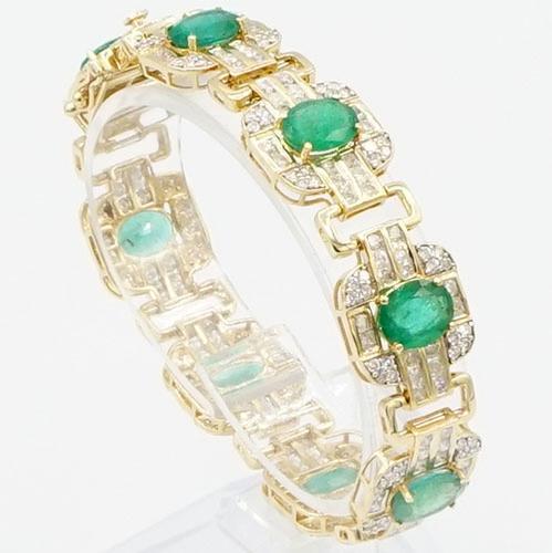 14KT Yellow Gold Emerald & Diamond Bracelet