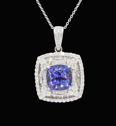 Tanzanite & Diamond Pendant in Platinum