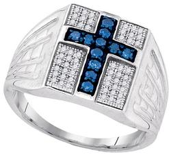 Sterling Silver 0.50CTW-BLUE DIA MENS RING