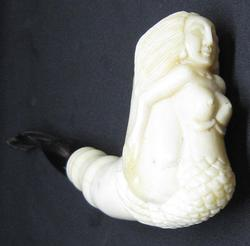 Handcrafted Bone Pipe with Mermaid Design