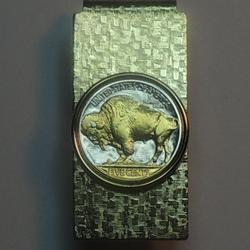Old U.S. Buffalo nickel - 2-Toned Gold on Silver coin (Hinged) Money clips