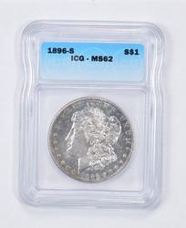 MS62 1896-S Morgan Silver Dollar - Graded ICG