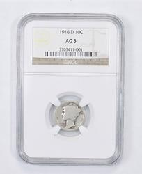AG3 1916-D Mercury Dime - Graded NGC