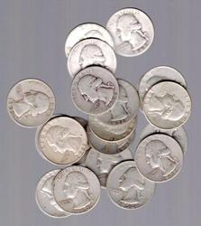 Half-Roll of 20 Silver Washington Quarters from 1964