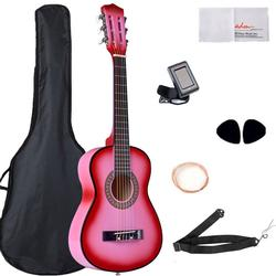 Classical Guitar 30 Inch Buddle with Carrying Bag & Accessories, Pink