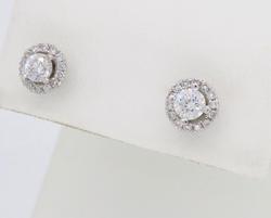 Halo Style Cluster Diamond Earrings