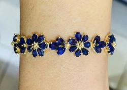 14kt Yellow Gold Natural Blue Sapphire Bracelet