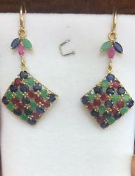 14kt Gold Ruby, Emerald, & Sapphire Earrings