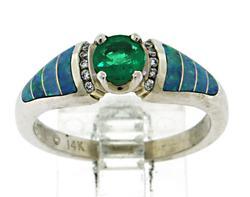 Kabana Emerald Opal Inlay and Diamond Ring