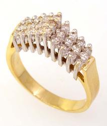 Three-Row Diamond Ring, Size 7