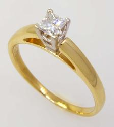 Princess-Cut Diamond Solitaire Ring, Size 7.75