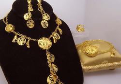 21K Ornate Necklace, Bracelet, Ring & Earring Set