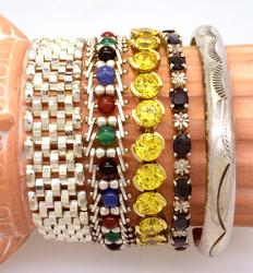 Lot of Four Bracelets and One Cuff
