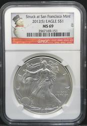 Certified 2012(S) Silver Eagle NGC MS69  San Francisco