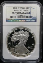 Certified 2012-W Proof Silver Eagle NGC PF70 1st Strike