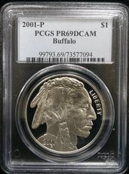 Certified 2001 P Proof Buffalo PCGS PF69