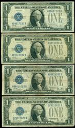 2 1928-A & 2 1928-B $1 Funny Backs Silver Certificates