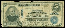 1902 Series $5 Large Size Public Nat'l Bank, NY (11034)