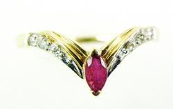 14K Pink Topaz & Diamonds V Ring
