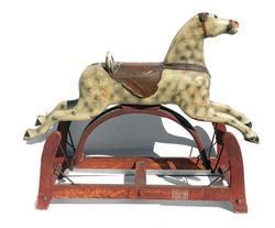 Rare Antique Wooden Rocking Horse