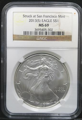 Certified 2013(S) Silver Eagle NGC MS69  San Francisco