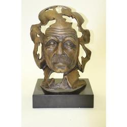 Albert Einstein on Marble Base Bronze Sculpture