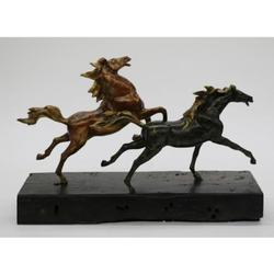 Two Racing Horses Stallion on Wood Bronze Sculpture