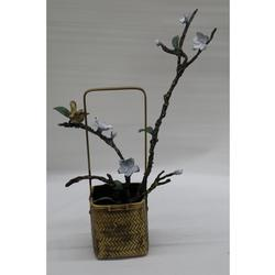 Vase Love Bird an Jasmine Branch Bronze Sculpture