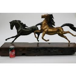 Two Galloping Horses Hand Painted Bronze Sculpture