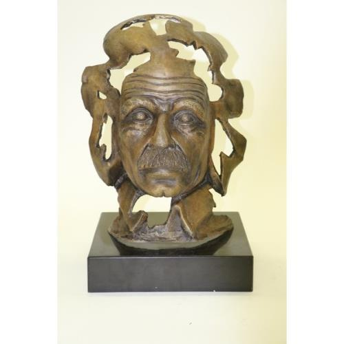 Albert Einstein on Marble Base Bronze Sculpture