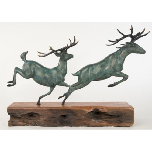 Two Running Stag Reindeer Bronze Statue