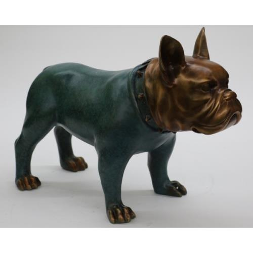 Bulldog 100% Solid Bronze and Copper Sculpture
