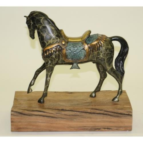 Loving Horse with his Saddle Bronze Sculpture