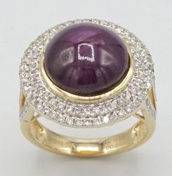 14KT Yellow Gold Ruby & Diamond Cocktail Ring