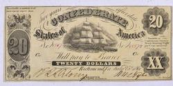 Early 1861 $20 Confederate Note, T-9