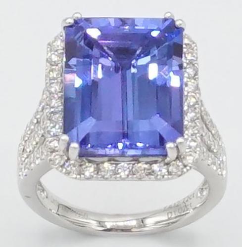 Tanzanite & Diamond Cocktail Ring in Platinum