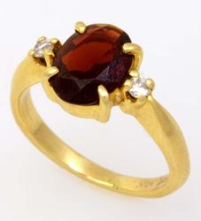 Petite Garnet & Diamond Accent Ring, Size 2.5