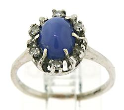 14KT White Gold Star Sapphire & Diamond Halo Ring