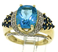 Blue Topaz, Tanzanite and Diamond Ring