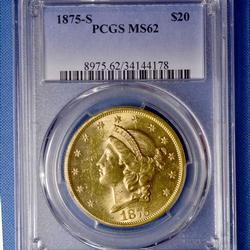 Rare MS62 1875-S $20 Gold Liberty Double Eagle, PCGS