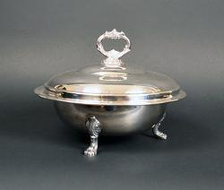 Silver Plated Covered Casserole Dish & Glass Insert Set