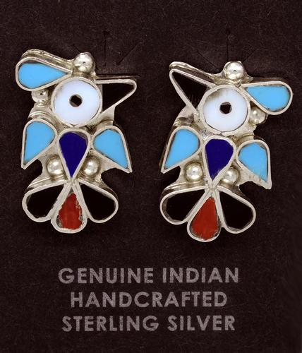 Sterling Silver Bird Inlaid Earrings, Zuni Crafted